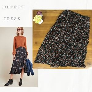 Wild Fable Asymmetrical Tiered Floral Skirt Size S